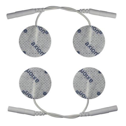 4 Electrodos pequeños conexión clavija - Parches TENS EMS 32 mm diámetro - Para electroestimuladores conexión banana 2mm - Almohadillas calidad axion