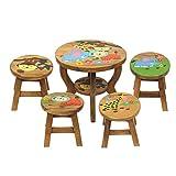 Oriental Galerie Kinder Sitzgruppe Tische und Stühle 5er Set Tischgruppe Massiv Robust Dschungel Motiv Holz Braun
