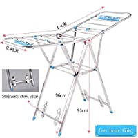 Indoor Outdoor Airer Winged Folding Laundry Drying Rack Stainless Steel High Capacity 140 * 45 * 91cm
