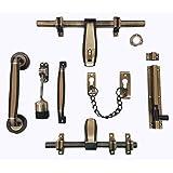 VISIARO 609 Brass Antique Finish Single Door Fittings Kit, 7 Items