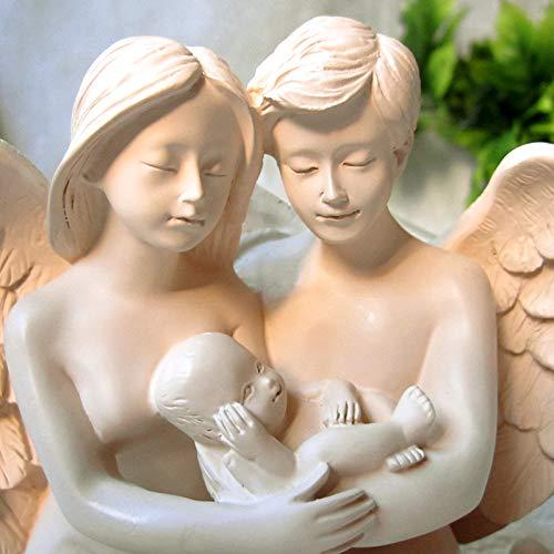 POKYY Amor Engel Paar Halten Baby Ornamente Harz Handwerk Glückliche Familie Braut Wohnaccessoires Kreative Einrichtung Hochzeit Gift17X9X11Cm