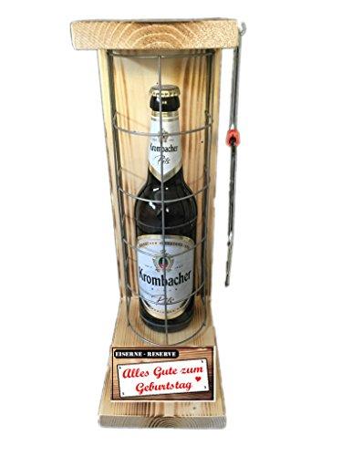 Alles Gute zum Geburtstag – Eiserne Reserve – Krombacher Pils 0,50L mit Eisensäge – witziges Biergeschenk – Geburtstagsgeschenk – Männergeschenk – Biergeschenk – Bierverpackung