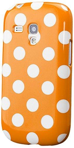 S3 MINI |  Polka Dots TPU Case Orange | [Display Schutzfolie Inklusive] Damen Frauen Mädchen Silikon Gel Motiv Muster Schutzhülle Hülle Cover Schutz (Orange Polka Dots)