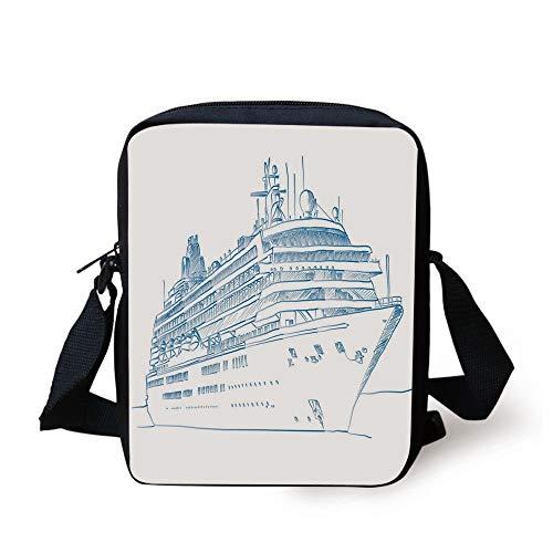 Marine,Hand Drawn Sketch Style Cruise Liner Ship Design Ocean Travel Transportation Holiday Decorative,Blue White Print Kids Crossbody Messenger Bag Purse -