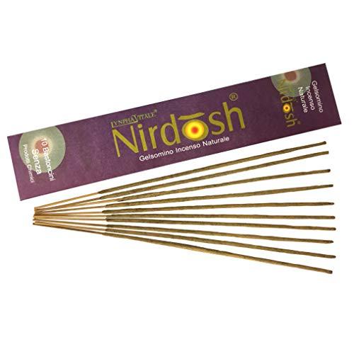 Incenso naturale nirdosh al gelsomino - bastoncini di incenso - 10 stick - arrotolati in india da artigiani secondo la tradizione