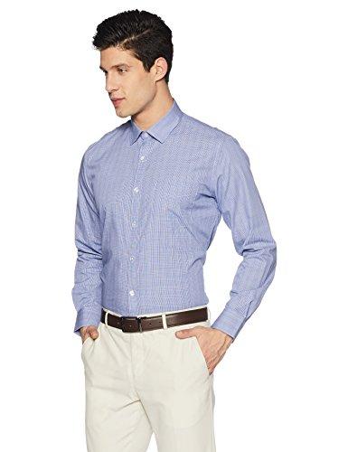 Symbol Amazon Brand Men's Formal Slim Fit Shirt (S17MBS193_40_D.Blue)