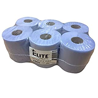 Elite Blue Centrefeed Rolls, 2-Ply Embossed, (Pack of 6)