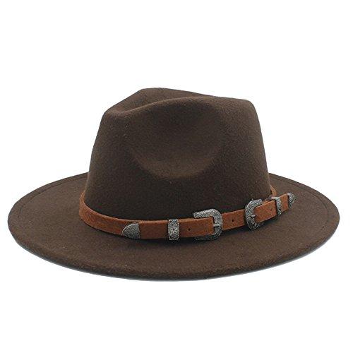 HONGkeke Der Hut der Panama-Fedora-Frauen-Godfather Sombrero der Frauen bedeckt Mann-breiter Rand-Kirchenkappe Jazz-Hut Mode Blickfang (Farbe : 7, Größe : 57-58CM)