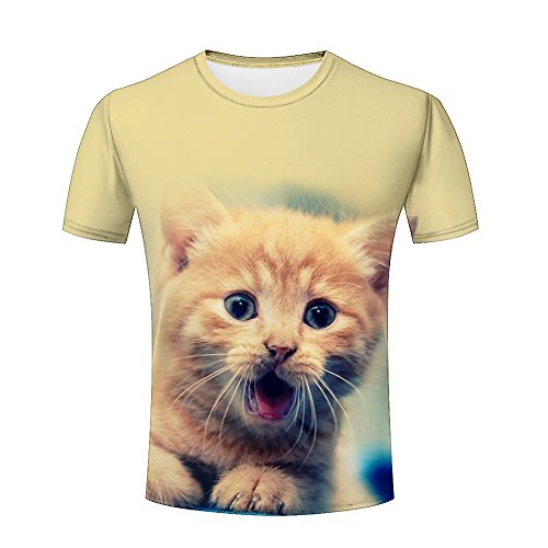 lingshirt Men 3D Tshirts Unisex Crazy Lovely Animal Cats Printed Creative Graphics Tees XL (Shorts Crazy Spandex)