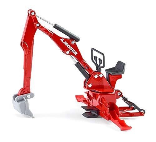 SIKU 2066, Moser Heckbagger für Traktoren, 1:32, Metall/Kunststoff, Rot, Passend für alle Traktoren mit Heckkupplung