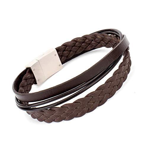 COWstyle® Designer Herren-Lederarmband mit Gravur | aus Echtleder in braun mit Magnetverschluss aus Edelstahl | Länge 19 cm | Liverpool der Marke