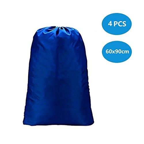 DoGeek-Bolsa de la Colada portátil Bolsa de lavandería Grande, con Resistentes Correas de Hombro Ajustables, Bolsa para lavandería, tamaño Gigante, con cordón para Cerrar(1 pcs,60 X 90cm,Azul)