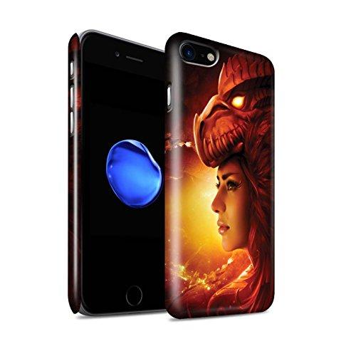 Officiel Elena Dudina Coque / Clipser Brillant Etui pour Apple iPhone 8 / Écailles Vertes Design / Dragon Reptile Collection Fille Rouge