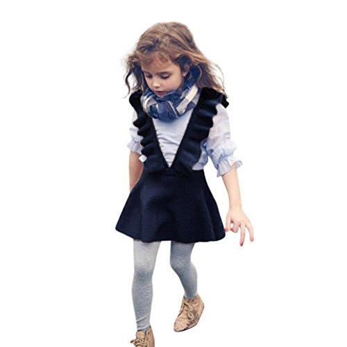 Longra Herbst Kleinkind Mädchen Kinder Baby Strick Pullover Kleid Solid Ärmellosen Rüsche Kleid Strickjacke Strick Kleider Prinzessin Kleid Minikleid Kinder Kleidung (2-6Jahre) (130CM 6Jahre, Navy)