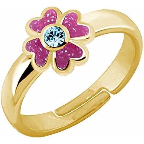 SL-Silver bambino bambini gioielli anello in argento 925 A forma di fiore con strass regolabile
