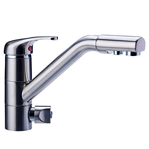 Drei-Wege-Wasserhahn JUPITER, Nickel satiniert für Untertisch-Wasserfilter geeignet. Küchenarmatur , Spültischarmatur , Mischbatterie , Dreiwege Wasserhahn , Für Osmoseanlagen Trinkwasseranlagen