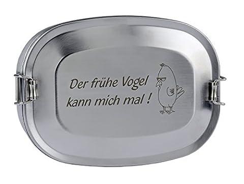 Edelstahl Vesperdose mit Gravur - Der frühe Vogel kann mich mal ! - lustig - als Geschenk zum Vatertag oder zu Weihnachten (Groß)
