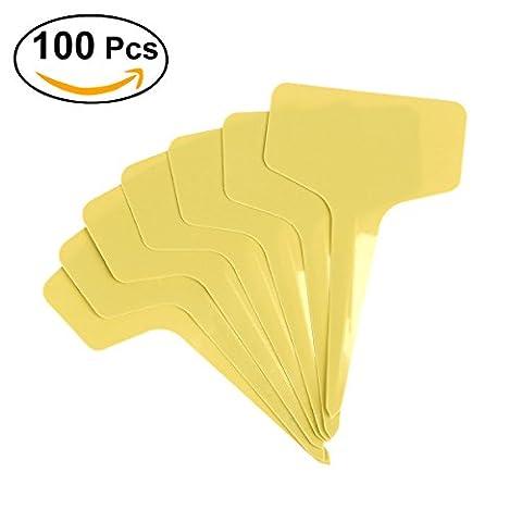 OUNONA Étiquettes en plastique imperméables 100pcs Étiquettes de jardin de pépinières Marqueurs Étiquettes de plantes (Jaune)