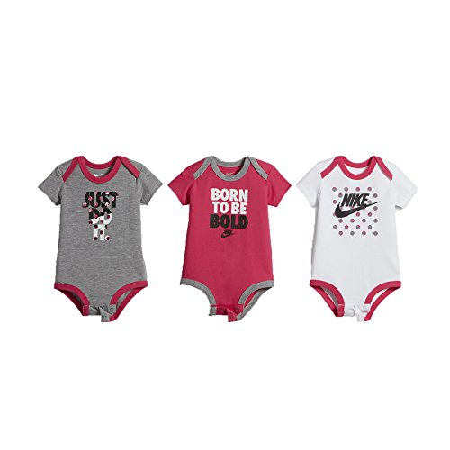 Nike Swoosh Three-Piece Infant Baby Bodysuit Set (6-9 Months, Pink_Polka_Dot (B989) / White/Grey/Pink) (Baby-snap Schulter-bodysuit)