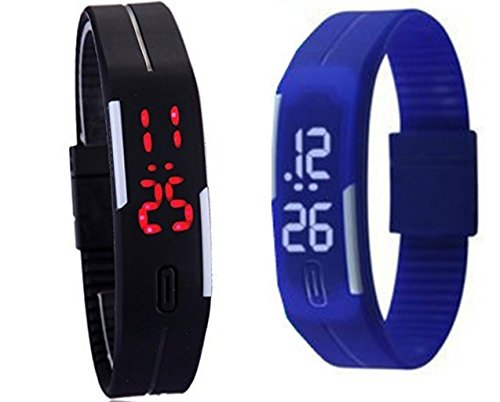 Glitter Led Digital watches Jelly Black and Blue Combo wristwatch Magnet lock Black MBLBK
