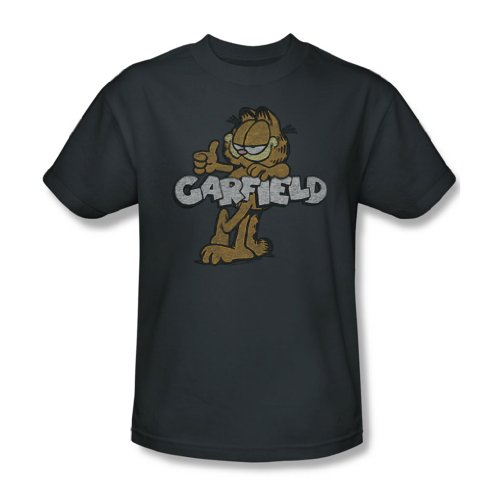 Garfield - Männer Retro-T-Shirt Garf In Charcoal Charcoal