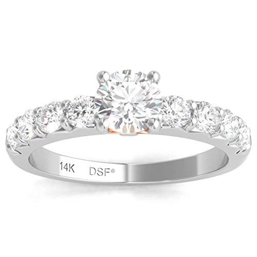 Diamond Studs Forever - Solitaire-Verlobungsring - 1,00 ct. Diamanten GH/I1 - Weißgold 14 Karat