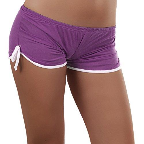 N381 Damen Stoffhose Kurze Hose Damenhose Hüfthose Hot Pants Shorts Sport Panty, Größen:Einheitsgröße, Farben:Lila -