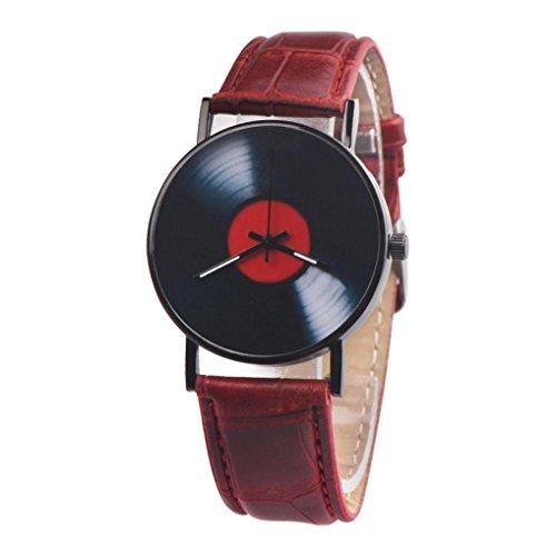 Quarz Uhr CLOOM Mode lässig Unisex Retro Design Band analoge Legierung Quarzuhr Vinyl Record Uhr einfache Uhr Business Luxusuhr PU Leder Armbanduhr Runder Fall Einfach Uhren Minimalistische (Braun)