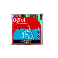 Berol Colour Fine Pen with 0.6 mm Nib, Assorted Colours, Pack of 12