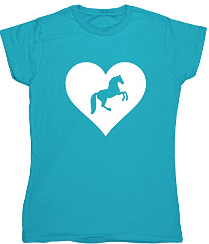 Hippowarehouse Herz Reiten Damen Fitted Short Sleeve T-Shirt (bestimmte Größenangaben in der Beschreibung) Gr. XX-Large, Saphirblau (Cowgirl Fitted T-shirt)