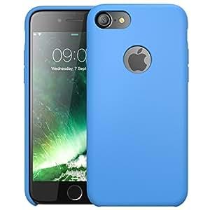 Custodia Flessibile iPhone 7,i-Blason [Shock Absorbing] Qualitá Premium di Silicone - Foro nella parte posteriore per poter vedere Logo Apple (Blu)