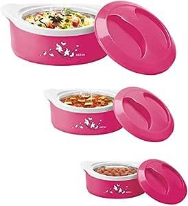 Milton Marvel Inner Steel Jr. Casserole Gift Set of 3(500/1000/1500), Pink