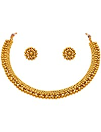 Jfl - Jewellery For Less Traditional And Ethnic One Gram Gold Plated Bead Necklace Set With Earring For Women