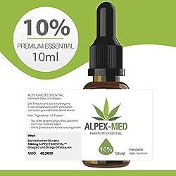 ALPEX-MED 10% ORIGINAL PREMIUM ESSENTIAL ÖL 10ml CB1 und CB2 Aktivator | Hanföl-Tropfen enthalten wertvolle Terpene und Flavonoide