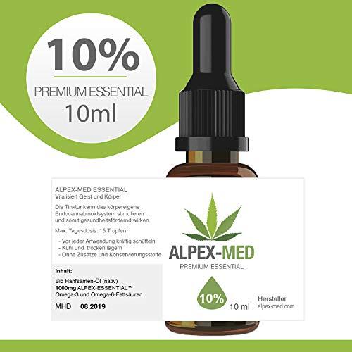 ALPEX-MED 10{1f54e633a2b476e9a8069fca919f072ee3d1a62c4f58c0fbda8aa78ef551b05c} ORIGINAL PREMIUM ESSENTIAL ÖL 10ml CB1 und CB2 Aktivator | Hanföl-Tropfen enthalten wertvolle Terpene und Flavonoide