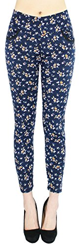 Hose Damen Leggings Treggings Jeggings mit Blumen MusterGr. 36-40 - DH161 (36/38 - S/M, DH161-TinyFlower)