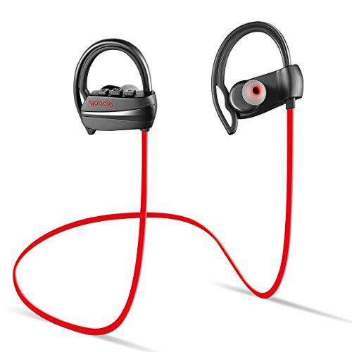 Yobola Ultra-Longue Autonomie Ecouteurs Bluetooth 4.1 Sans Fil Oreillette Intra Auriculaire Casque Sport Etanche Réduction du Bruit avec Microphone - 11 heures de Lecture de Musique - Rouge