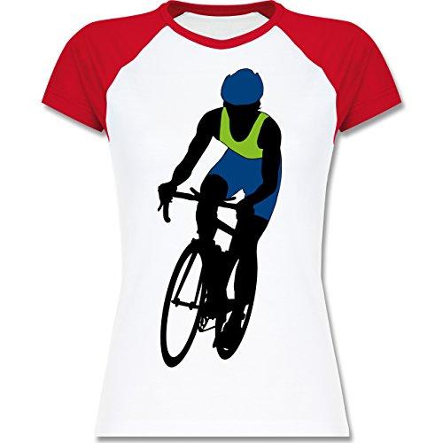 Shirtracer Radsport - Profi Rennrad Radrennen - Zweifarbiges Baseballshirt/Raglan T-Shirt für Damen Weiß/Rot