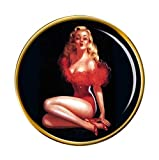 Vintage Pin-up Girl Redondo Prendedor Pin
