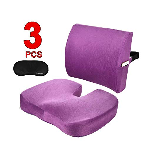 Coccyx Orthopedic Comfort memory foam seat cushions and Lumbar Support Pillow for Lower Back Pain Sciatica Tailbone Relief Seat Pillow for Office Chair Car Sofa Wheelchair with Washable Cover CompuClever Purple