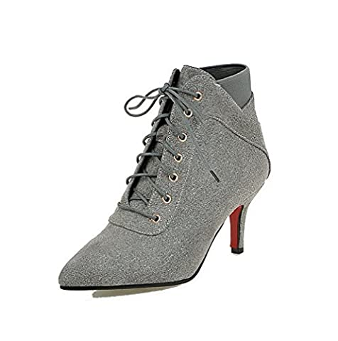 VogueZone009 Women's Solid Imitated Suede High-Heels Lace-up Pointed Closed Toe Boots, Gray, 34
