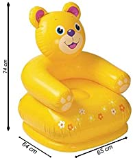 Fun Toys India Inflatable PVC Animal Chair for Kids ( Bear Shape Kids Chair, Yellow) (FTI-42)