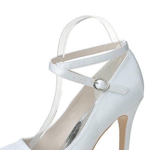 Donna Stiletto Heel Scarpe Tondo Testa Cinghia Alta Tacco White