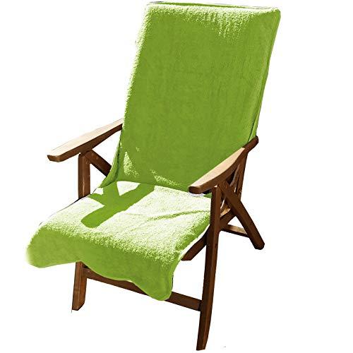 JEMIDI Frottee Schonbezug für Gartenstühle 100% Baumwolle Gartenstuhl 60cm x 130cm Frotteebezug Auflage Auflagenbezug Gartenstuhlbezug Schonauflage Bezug Auflagenbezug Grün -