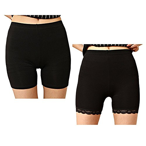 Liang Rou des Femmes Spandex Leggings Courts 2-Pack Couleur Noir M