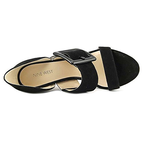 Nine West Frauen Langley Offener Zeh leger Gleit Sandalen Black Suede