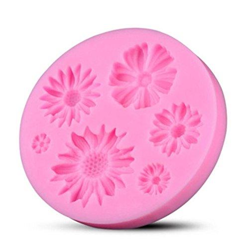 Drawihi stampo in silicone per cubetti di ghiaccio,biscotti,tortini,cioccolato,fiore tema,rosa,7.5 * 7.5 * 1.1cm
