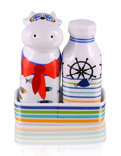 692ca033ab6f7c Set de Sel et Poivre avec Support Porcelaine – Marinière – Dans Boîte  Cadeau de Top