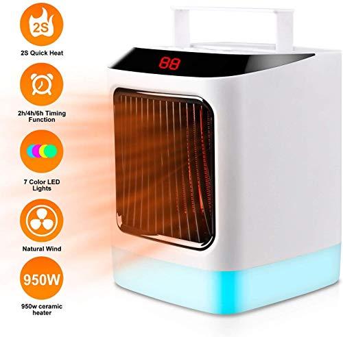 Plysin Calefactor Portátil, Calentador Eléctrico de Espacio con 7 Colores Leds Luces, Termostato Ajustable...