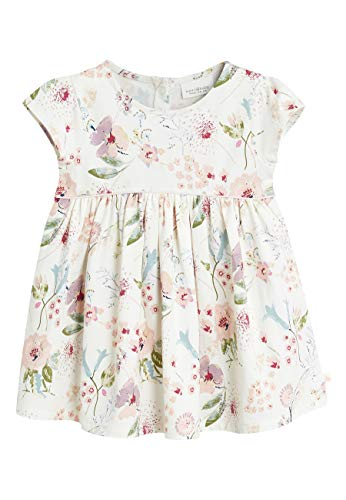 next Baby - Mädchen Jersey Kleid Mit Blumenmotiv Creme 12-18 Monate (Für Alltags-kleider Mädchen)